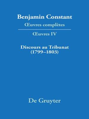 cover image of Discours au Tribunat. De la possibilité d'une constitution républicaine dans un grand pays (1799–1803)