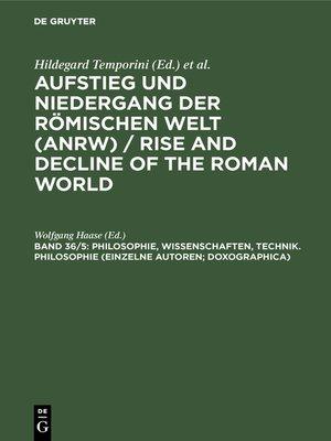 cover image of Philosophie, Wissenschaften, Technik. Philosophie (Einzelne Autoren; Doxographica)