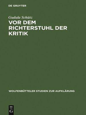 cover image of Vor dem Richterstuhl der Kritik