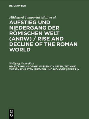 cover image of Philosophie, Wissenschaften, Technik. Wissenschaften (Medizin und Biologie [Forts.])