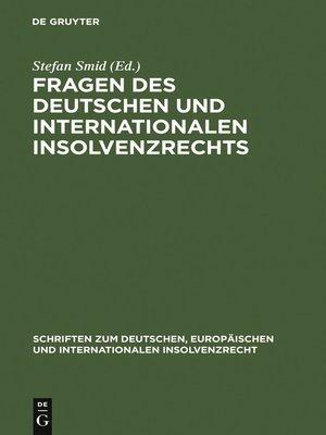 cover image of Fragen des deutschen und internationalen Insolvenzrechts