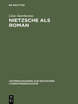 cover image of Nietzsche als Roman