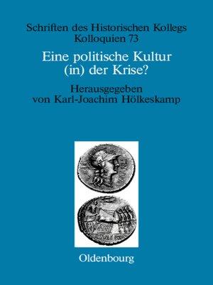 cover image of Eine politische Kultur (in) der Krise?