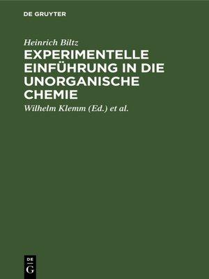 cover image of Experimentelle Einführung in die unorganische Chemie