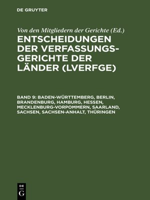 cover image of Baden-Württemberg, Berlin, Brandenburg, Hamburg, Hessen, Mecklenburg-Vorpommern, Saarland, Sachsen, Sachsen-Anhalt, Thüringen