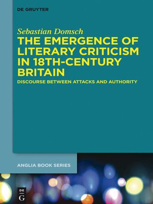 cover image of The Emergence of Literary Criticism in 18th-Century Britain