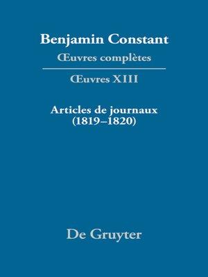 cover image of Articles de journaux (1819–1820)