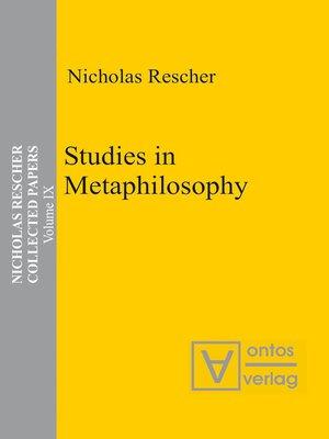 cover image of Studies in Metaphilosophy
