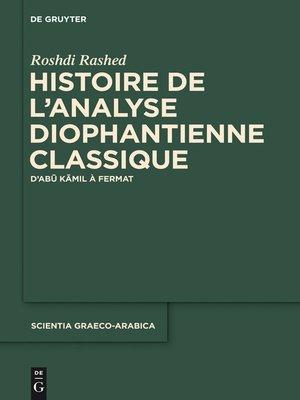 cover image of Histoire de l'analyse diophantienne classique