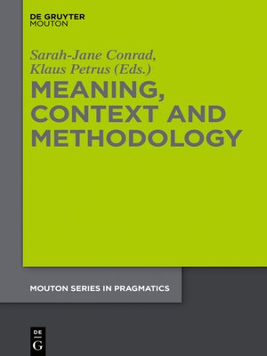 cover image of Meaning, Context and Methodology