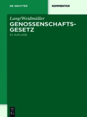 cover image of Lang/Weidmüller. Genossenschaftsgesetz