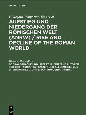 cover image of Sprache und Literatur. Einzelne Autoren seit der hadrianischen Zeit und Allgemeines zur Literatur des 2. und 3. Jahrhunderts (Forts.)