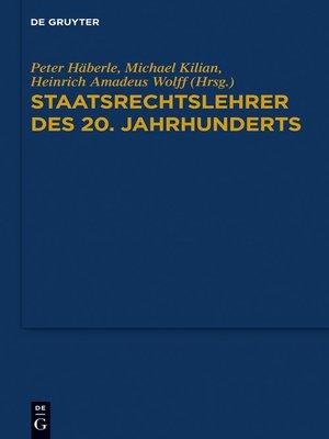 cover image of Staatsrechtslehrer des 20. Jahrhunderts