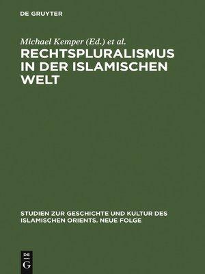 cover image of Rechtspluralismus in der Islamischen Welt