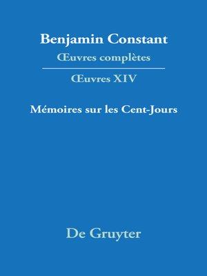cover image of Mémoires sur les Cent-Jours