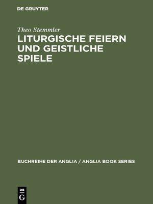 cover image of Liturgische Feiern und geistliche Spiele