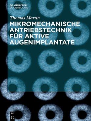 cover image of Mikromechanische Antriebstechnik für aktive Augenimplantate