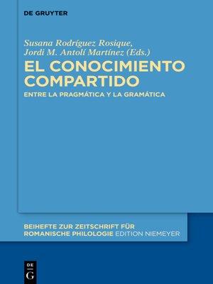 cover image of El conocimiento compartido