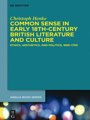 cover image of Common Sense in Early 18th-Century British Literature and Culture