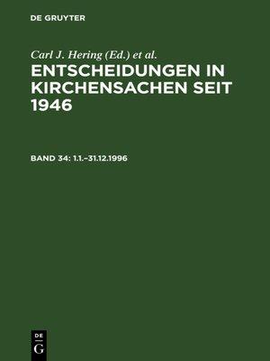 cover image of Entscheidungen in Kirchensachen seit 1946, 1.1.–31.12.1996