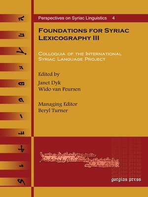 cover image of Foundations for Syriac Lexicography III