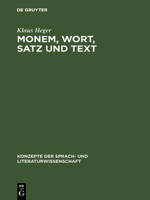 cover image of Monem, Wort, Satz und Text