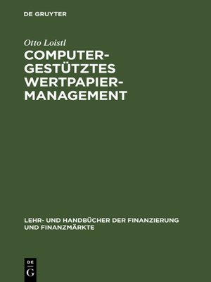cover image of Computergestütztes Wertpapiermanagement