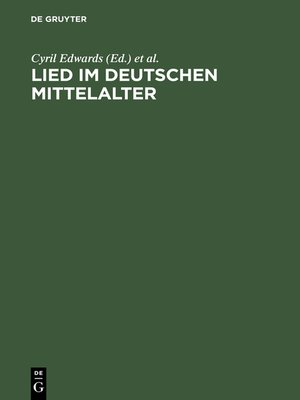 cover image of Lied im deutschen Mittelalter