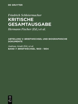 cover image of Briefwechsel 1803--1804