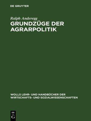 cover image of Grundzüge der Agrarpolitik