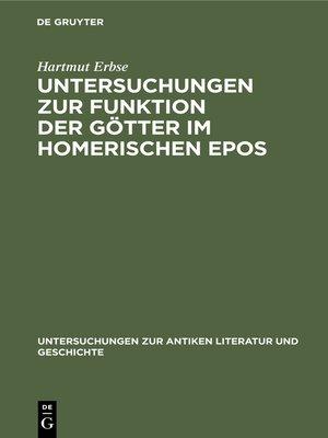 cover image of Untersuchungen zur Funktion der Götter im homerischen Epos