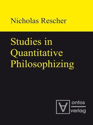 cover image of Studies in Quantitative Philosophizing