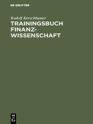 cover image of Trainingsbuch Finanzwissenschaft