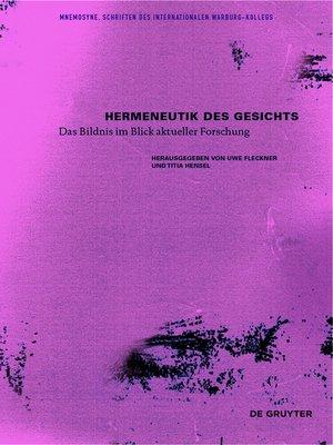 cover image of Hermeneutik des Gesichts
