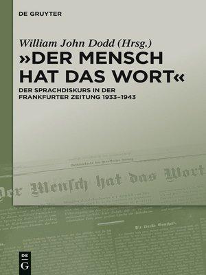 """cover image of """"Der Mensch hat das Wort"""""""