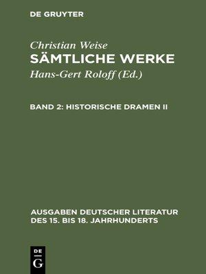 cover image of Historische Dramen II