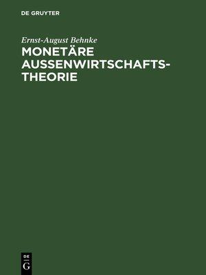 cover image of Monetäre Außenwirtschaftstheorie