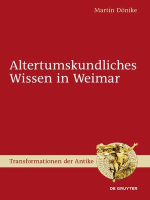 cover image of Altertumskundliches Wissen in Weimar