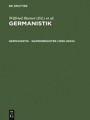 cover image of Germanistik – Namenregister (1995-2004)