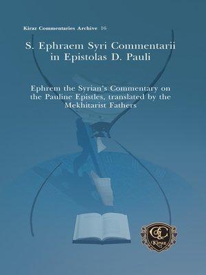 cover image of S. Ephraem Syri Commentarii in Epistolas D. Pauli