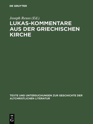 cover image of Lukas-Kommentare aus der griechischen Kirche