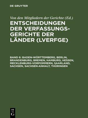 cover image of Baden-Württemberg, Berlin, Brandenburg, Bremen, Hamburg, Hessen, Mecklenburg-Vorpommern, Saarland, Sachsen, Sachsen-Anhalt, Thüringen
