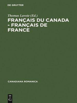 cover image of Français du Canada--Français de France