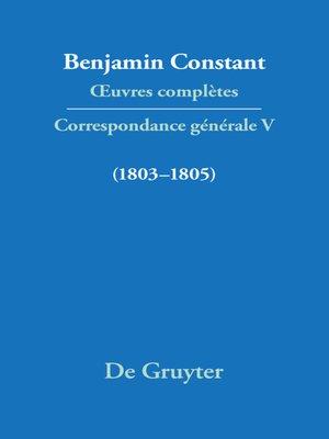 cover image of Correspondance 1803–1805