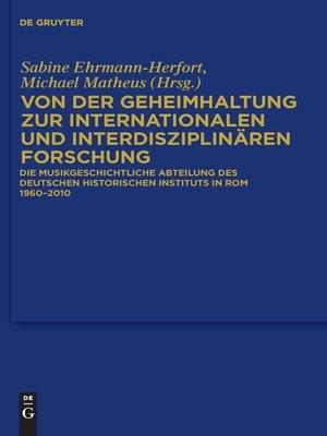 cover image of Von der Geheimhaltung zur internationalen und interdisziplinären Forschung