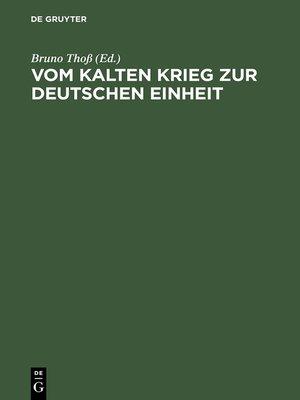 cover image of Vom Kalten Krieg zur deutschen Einheit