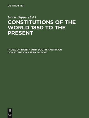 cover image of Index of North and South American Constitutions 1850 to 2007