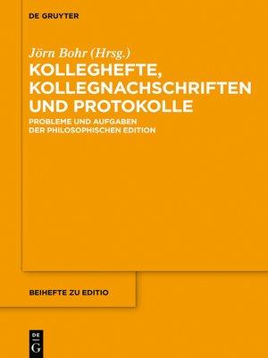 cover image of Kolleghefte, Kollegnachschriften und Protokolle