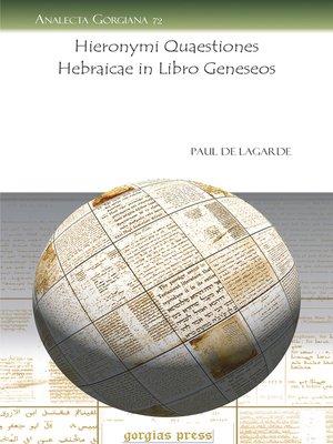 cover image of Hieronymi Quaestiones Hebraicae in Libro Geneseos