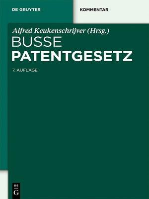 cover image of Patentgesetz